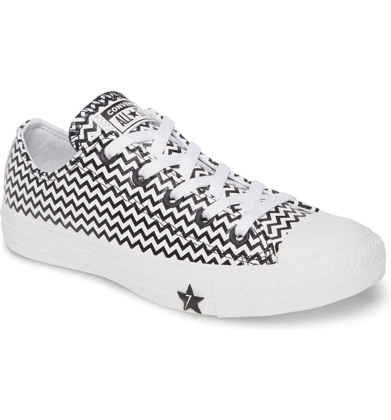CONVERSE Chuck Taylor<sup>®</sup> All Star<sup>®</sup> Mission Leather Low Top Sneaker, Main, color, WHITE/ CONVERSE BLACK/ WHITE