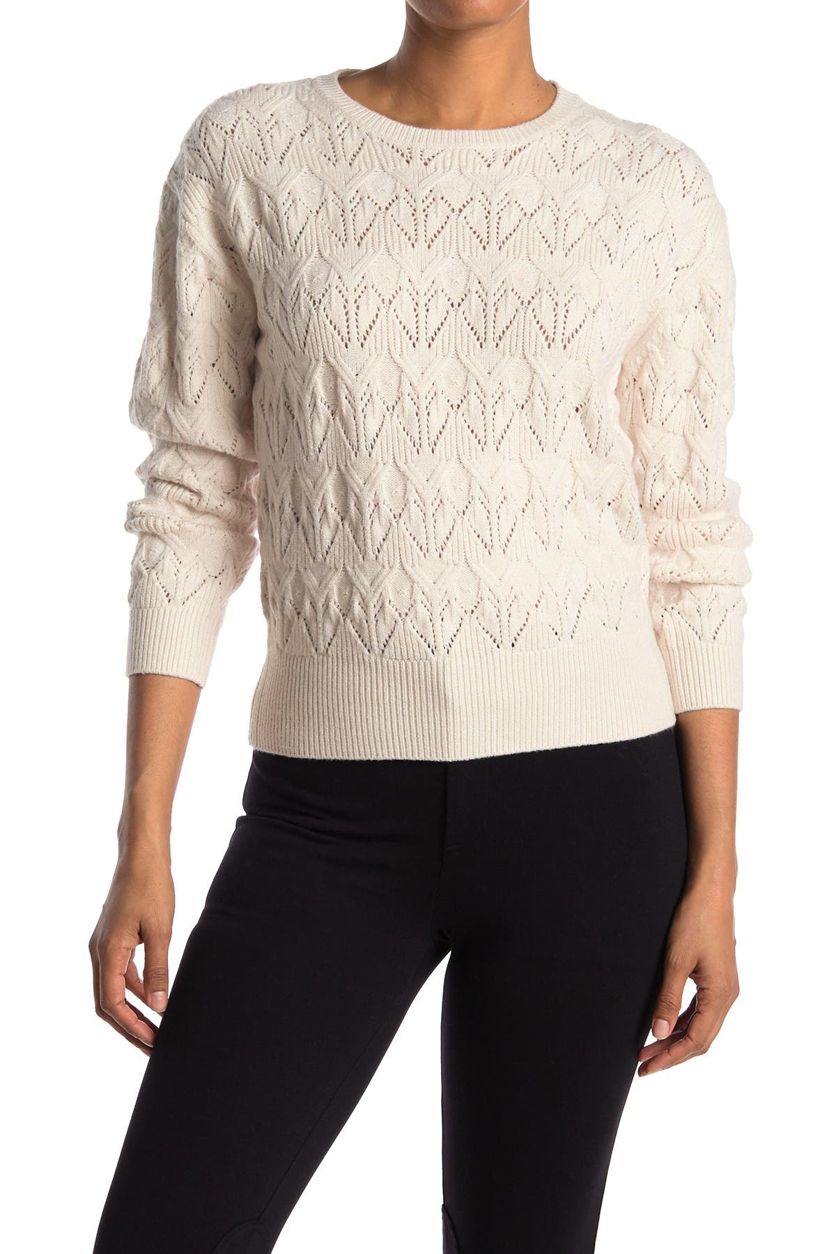 Image of Catherine Catherine Malandrino Long Sleeve Crew Neck Pointelle Detailed Top