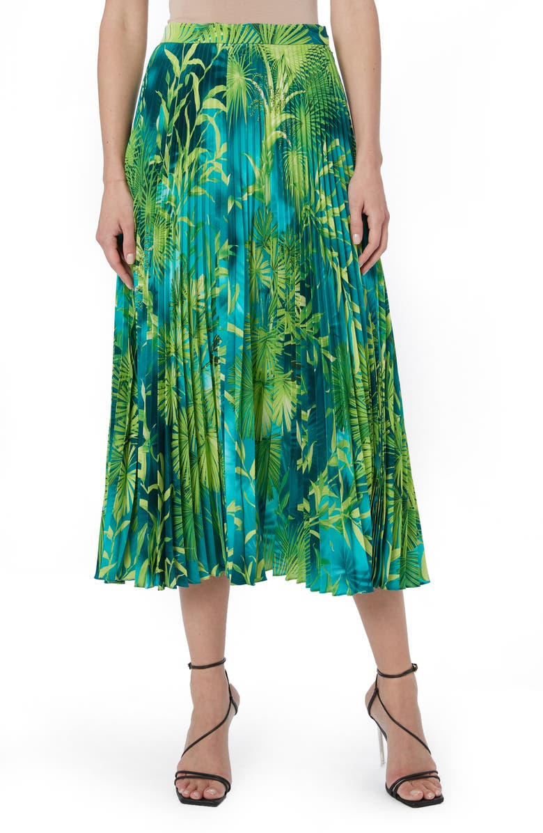 VERSACE Jungle Print Pleated Midi Skirt, Main, color, GREEN AND PRINT