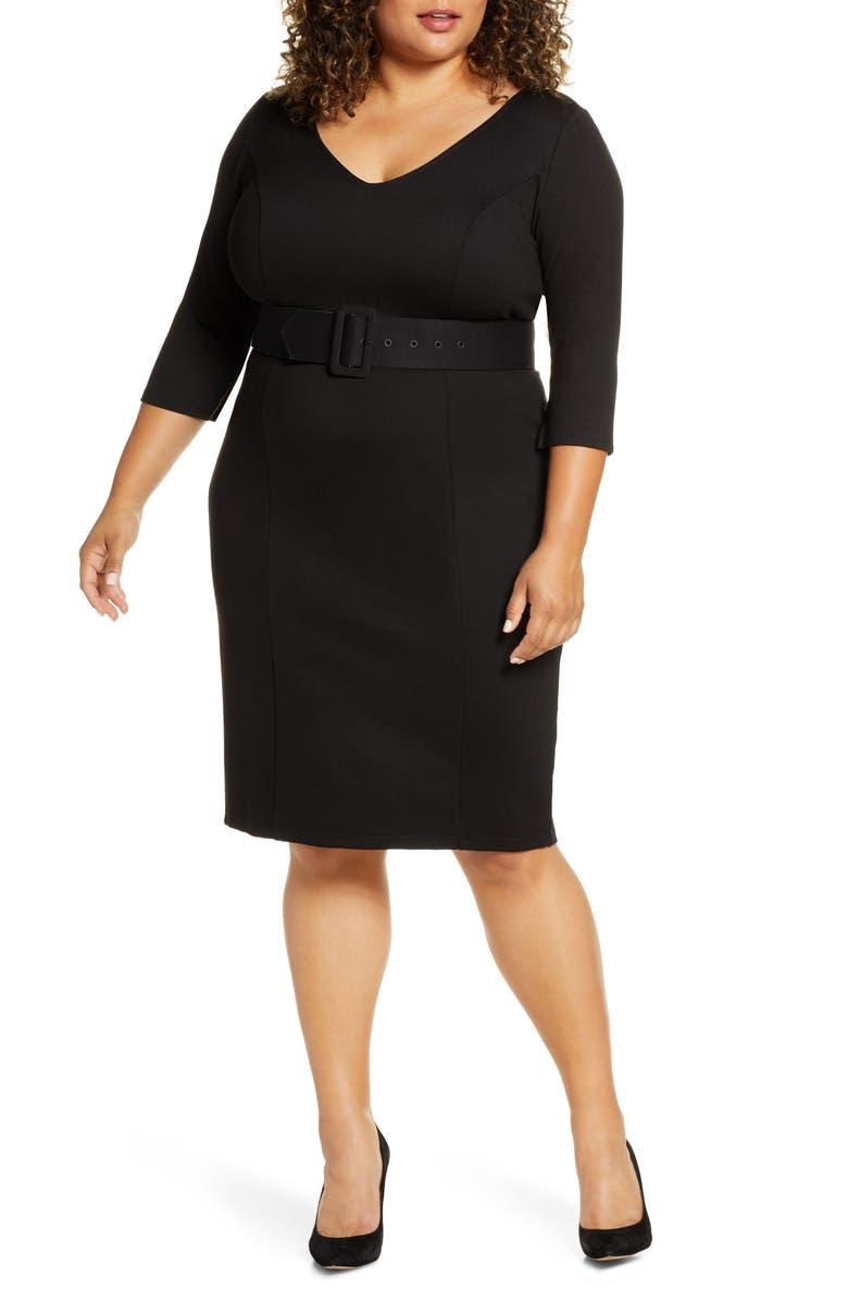 ELOQUII Belted Sheath Dress, Main, color, BLACK