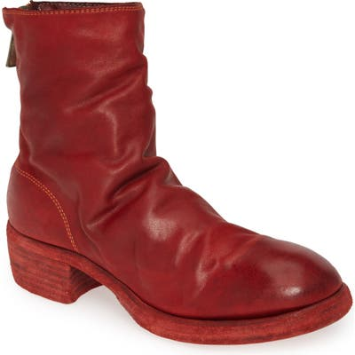 Guidi Back Zip Boot, Red