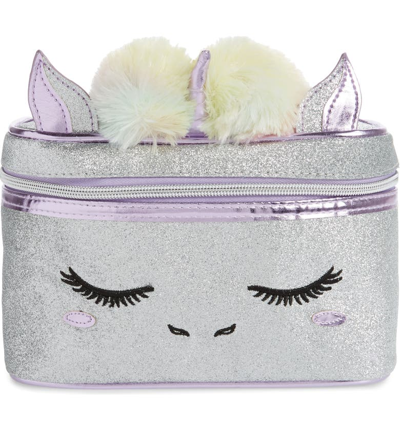 UNDER ONE SKY Unicorn Train Case, Main, color, SILVER