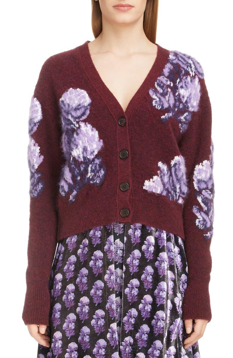 CHLOÉ Solar Floral Jacquard Sweater, Main, color, BURGUNDY