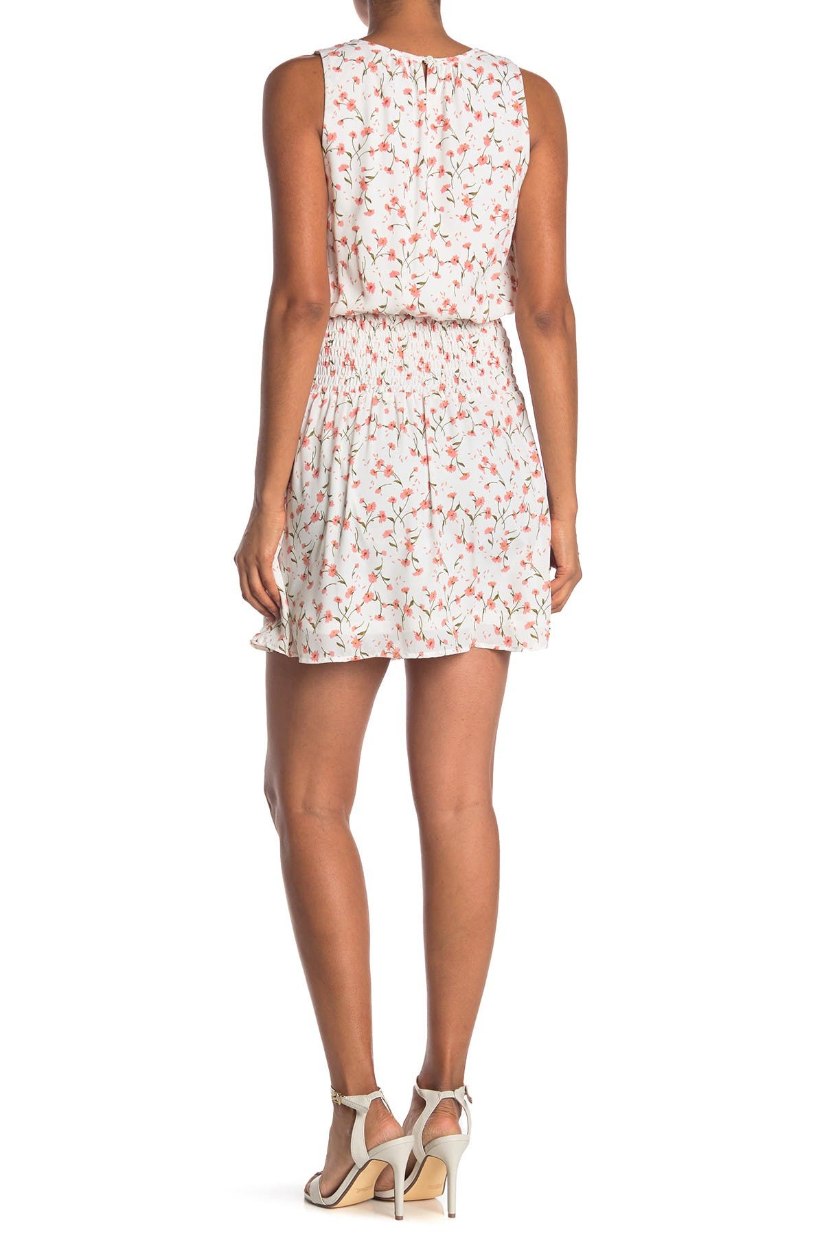 Image of Collective Concepts Floral Smocked Sleeveless Dress