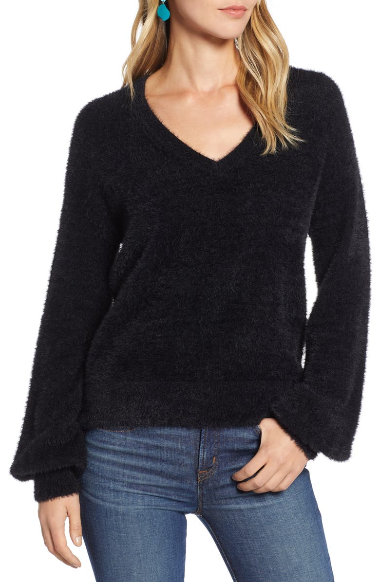HALOGEN<SUP>®</SUP> Fuzzy V-Neck Sweater, Main, color, BLACK