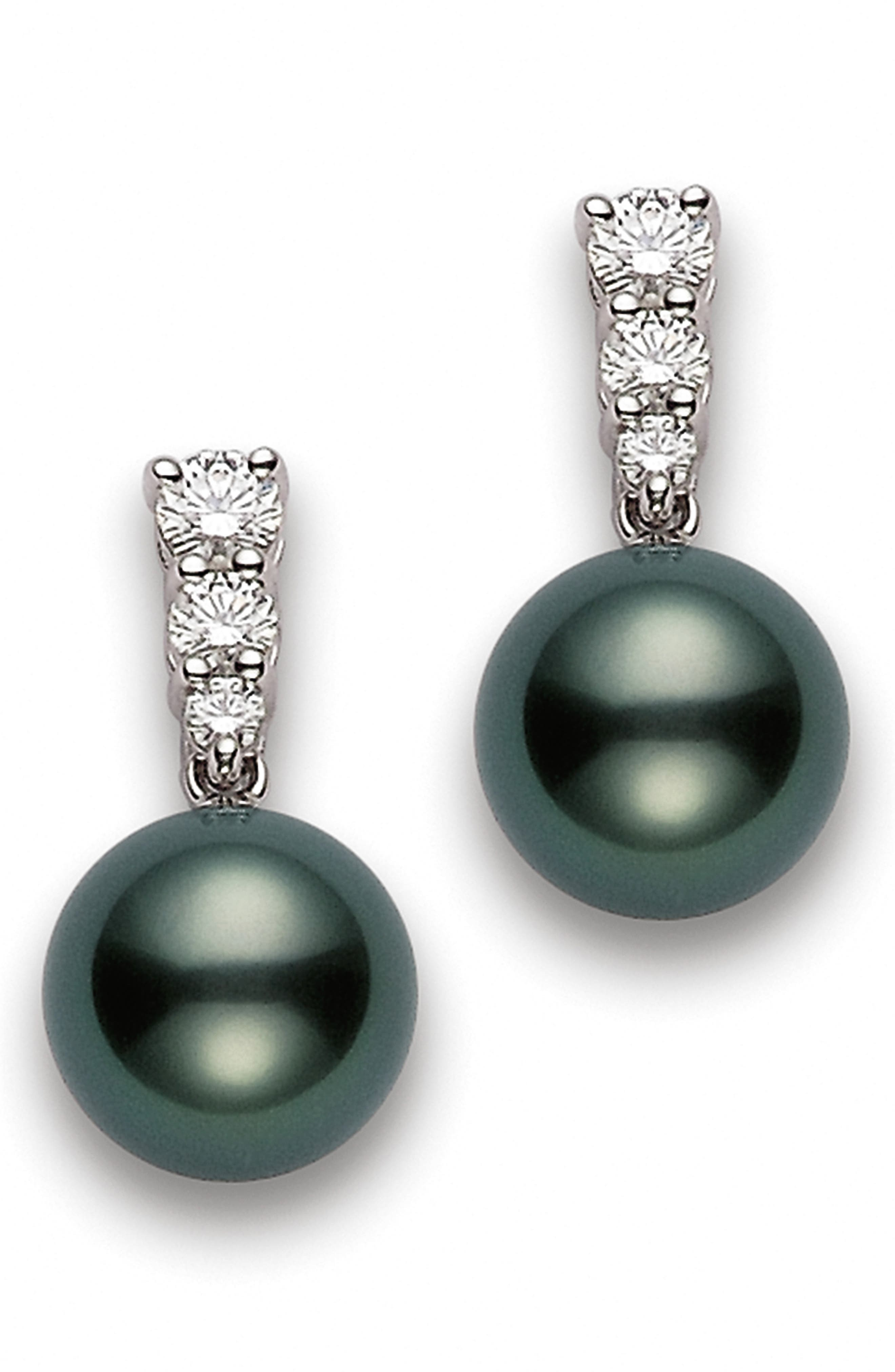 Morning Dew Black South Sea Cultured Pearl & Diamond Drop Earrings