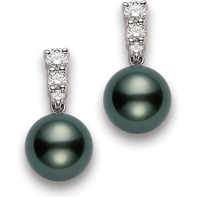 Mikimoto Morning Dew Black South Sea Cultured Pearl & Diamond Drop Earrings
