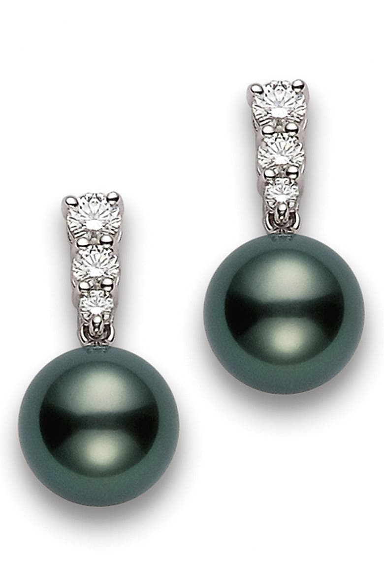 MIKIMOTO Morning Dew Black South Sea Cultured Pearl & Diamond Drop Earrings, Main, color, D0.48 18KWG