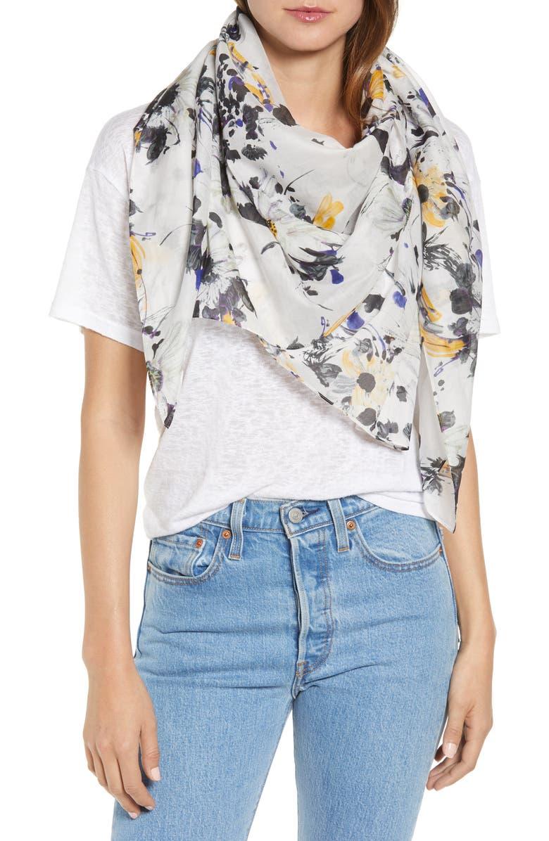 ALLSAINTS Fleurir Cotton & Silk Pareo, Main, color, 100