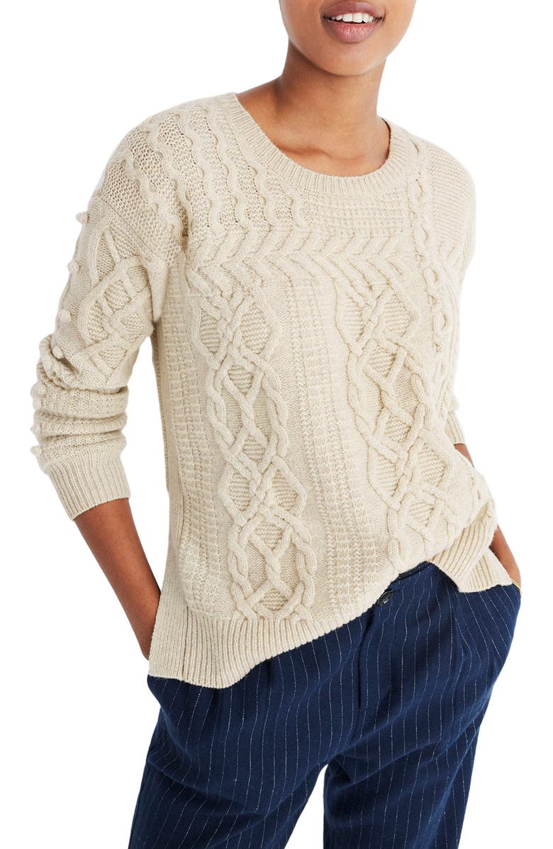 MADEWELL Open Side Bobble Pullover Sweater, Main, color, 020
