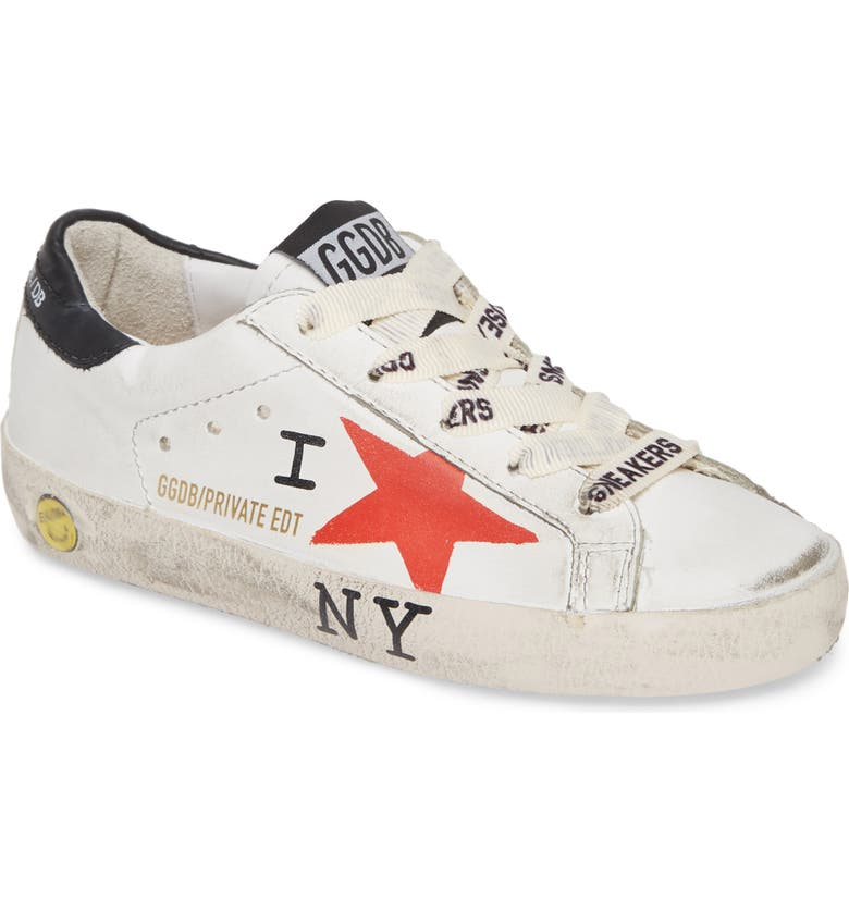 GOLDEN GOOSE NYC Low Top Sneaker, Main, color, WHITE LEATHER-RED STAR