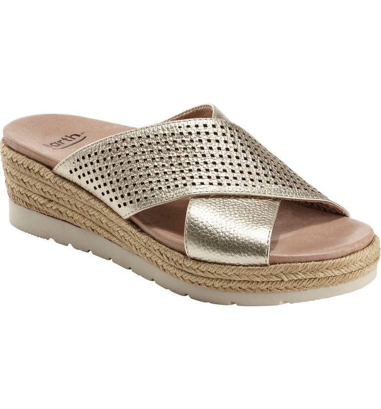 EARTH<SUP>®</SUP> Marigold Espadrille Slide Sandal, Main, color, GOLD METALLIC LEATHER
