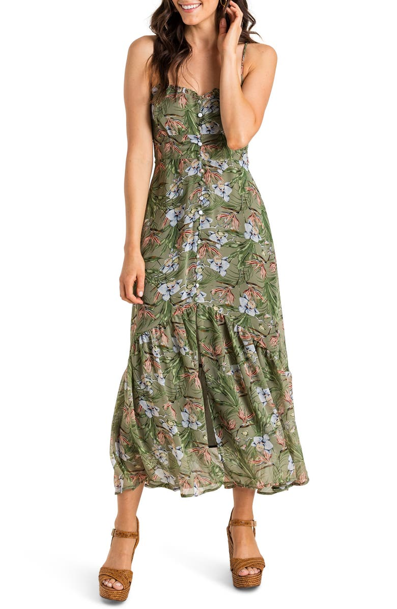 ALL IN FAVOR Sleeveless Button Detail Maxi Dress, Main, color, SAGE FLORAL PRINT A/ S