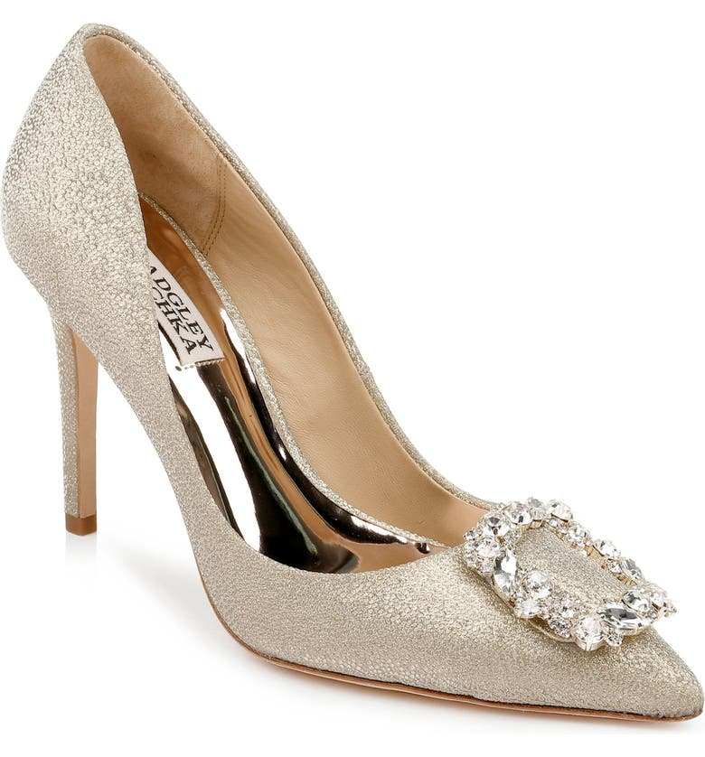 BADGLEY MISCHKA COLLECTION Badgley Mischka Cher Crystal Embellished Pump, Main, color, PLATINO GLITTER
