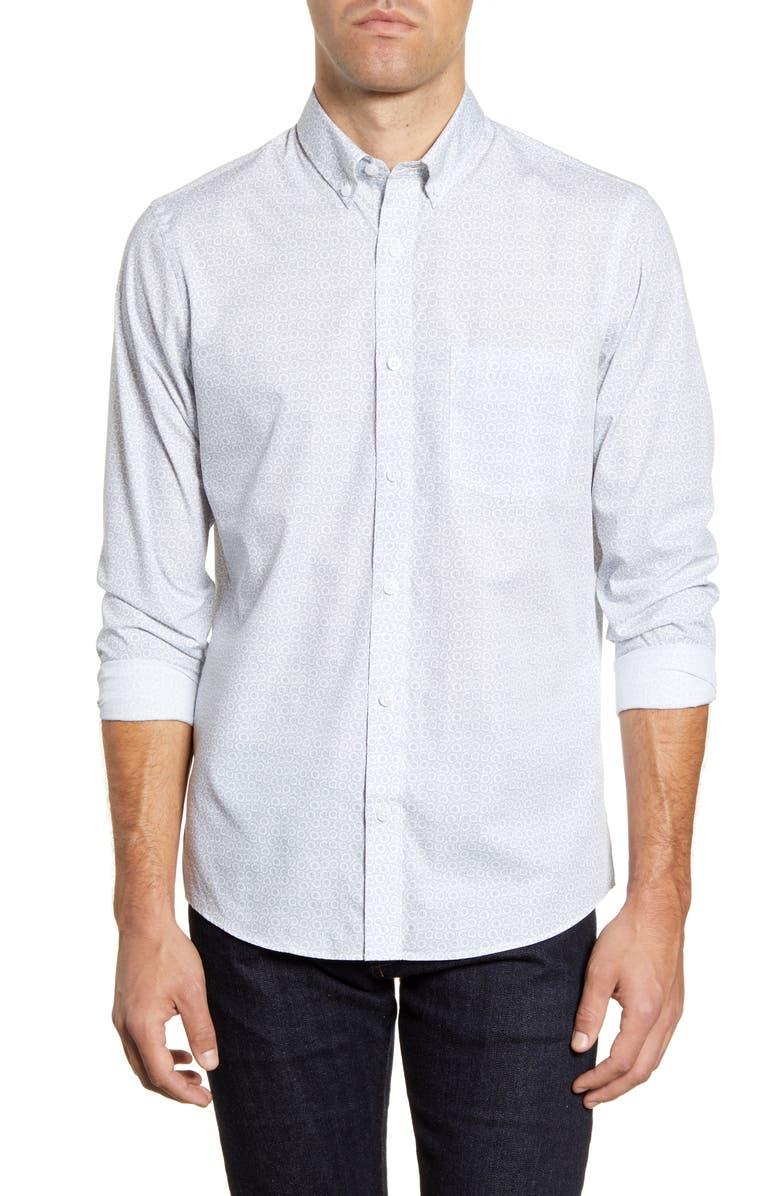 1901 Slim Fit Print Button-Down Shirt, Main, color, WHITE BLUE PRINT
