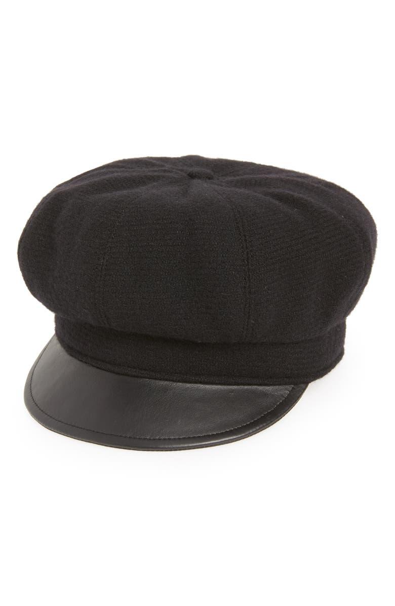 ERIC JAVITS Carnaby Packable Baker Boy Cap, Main, color, BLACK