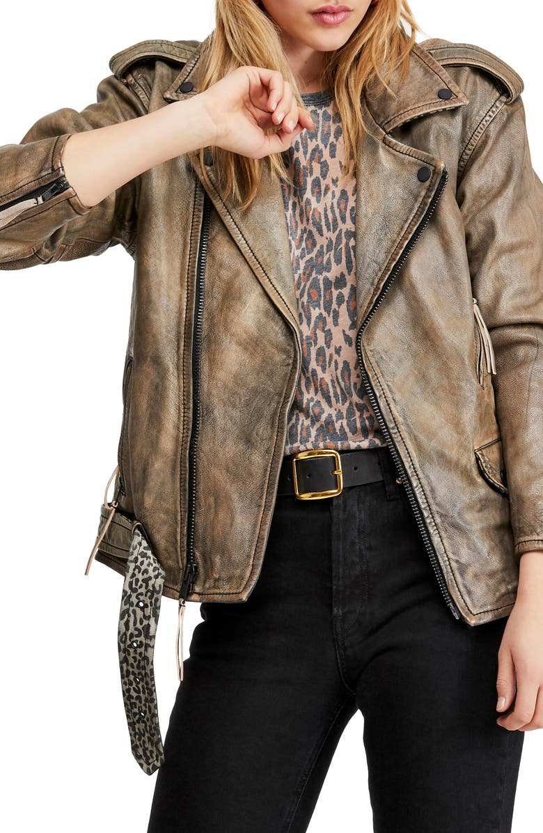 FREE PEOPLE Over You Leather Moto Jacket, Main, color, NEUTRAL