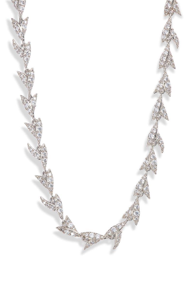 NADRI Liv Leaf All Around Collar Necklace, Main, color, RHODIUM