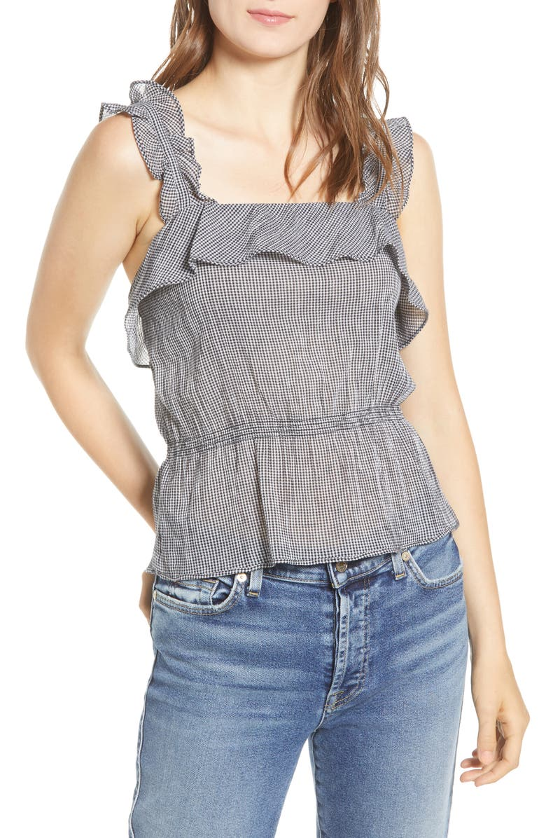 7 FOR ALL MANKIND<SUP>®</SUP> Ruffle Top, Main, color, BLACK/ WHITE