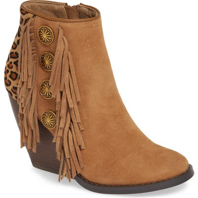 Very Volatile Bellflower Genuine Calf Hair Bootie, Brown