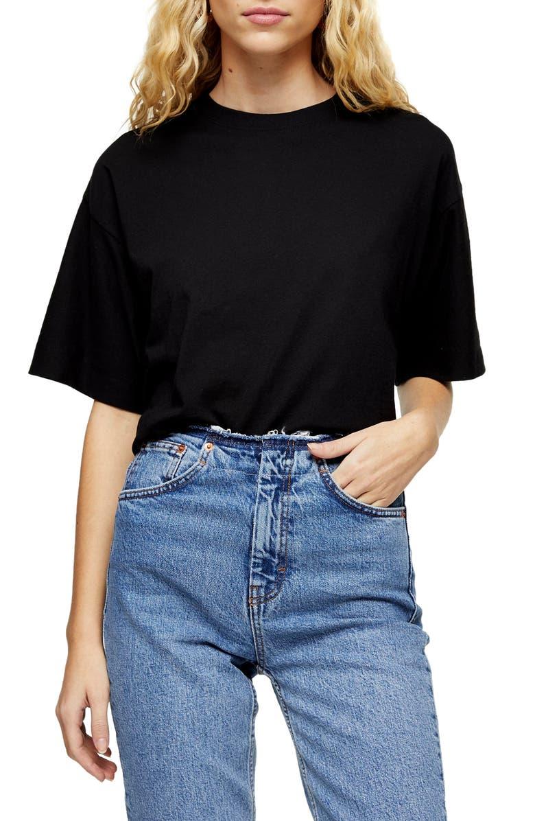 TOPSHOP Boxy T-Shirt, Main, color, BLACK