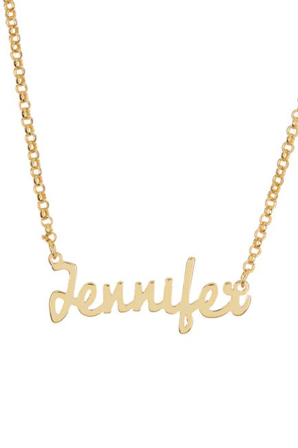 Image of Argento Vivo 18K Yellow Gold Plated Sterling Silver 'Jennifer' Name Pendant Necklace