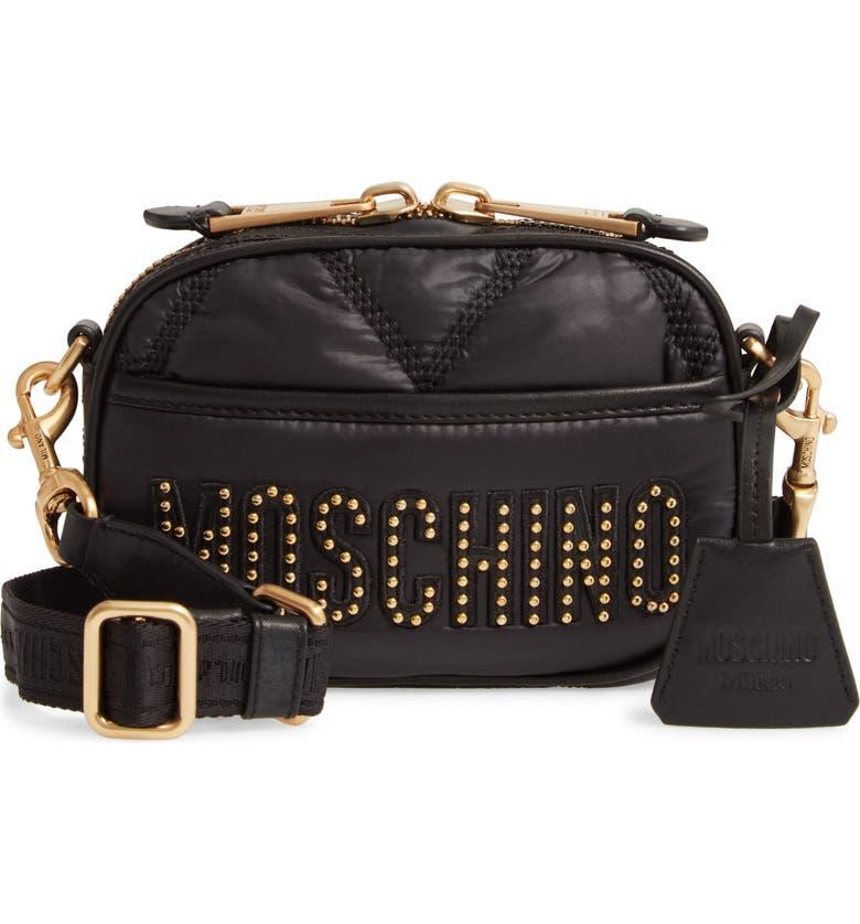 MOSCHINO Quilted Nylon Crossbody Bag, Main, color, FANTASY PRINT BLACK