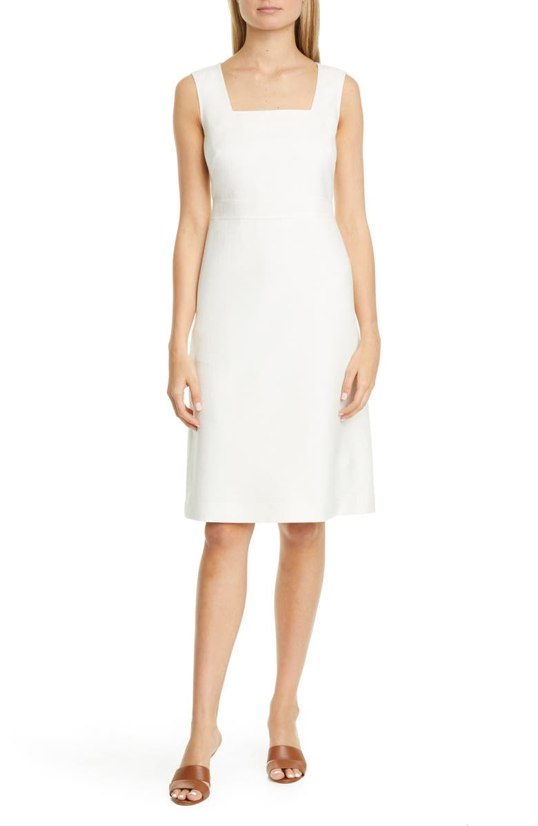 LAFAYETTE 148 NEW YORK Spencer Cotton, Wool & Silk Dress, Main, color, CLOUD MELANGE