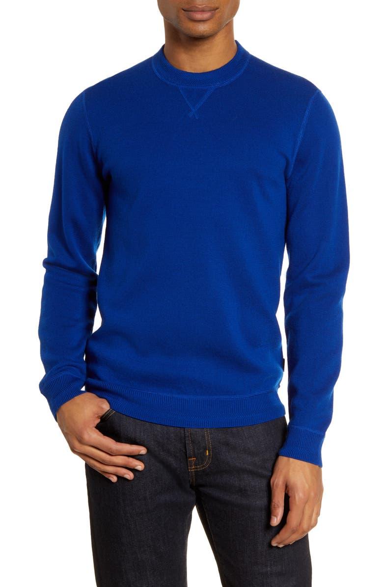 TED BAKER LONDON Monop Slim Fit Crewneck Wool Sweater, Main, color, BLUE