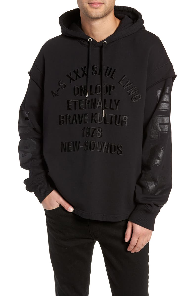 DIESEL<SUP>®</SUP> S-DRIVE-LS-XA Embroidered Hooded Sweatshirt, Main, color, BLACK