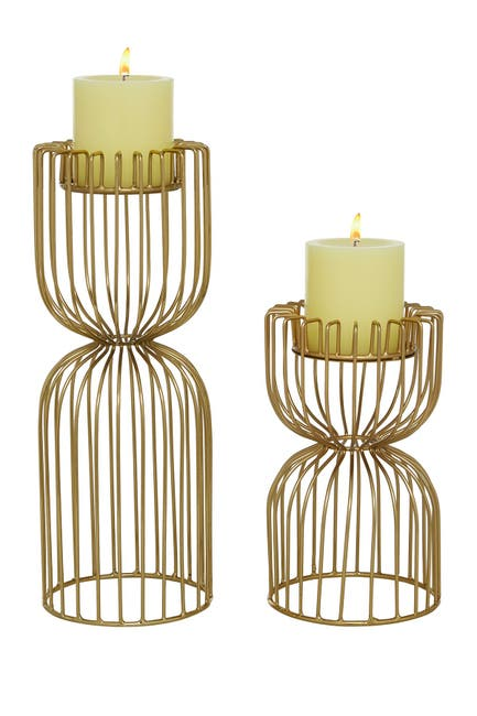 """Image of Willow Row Metal Grid Votive Candle Holders - Set Of 2: 8"""" - 13"""""""
