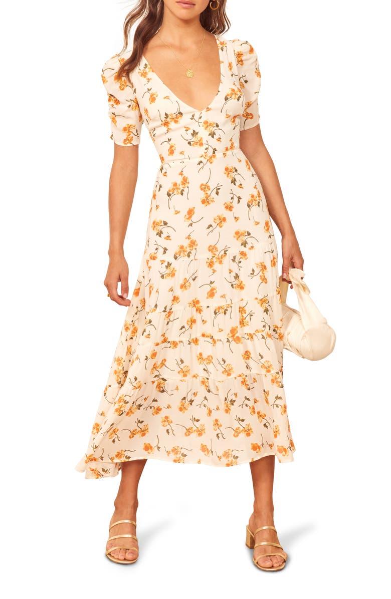 REFORMATION Cosa Midi Dress, Main, color, 100