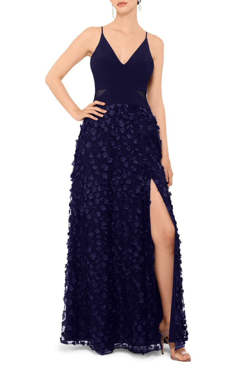XSCAPE Floral Appliqué Gown, Main, color, NAVY/ NAVY