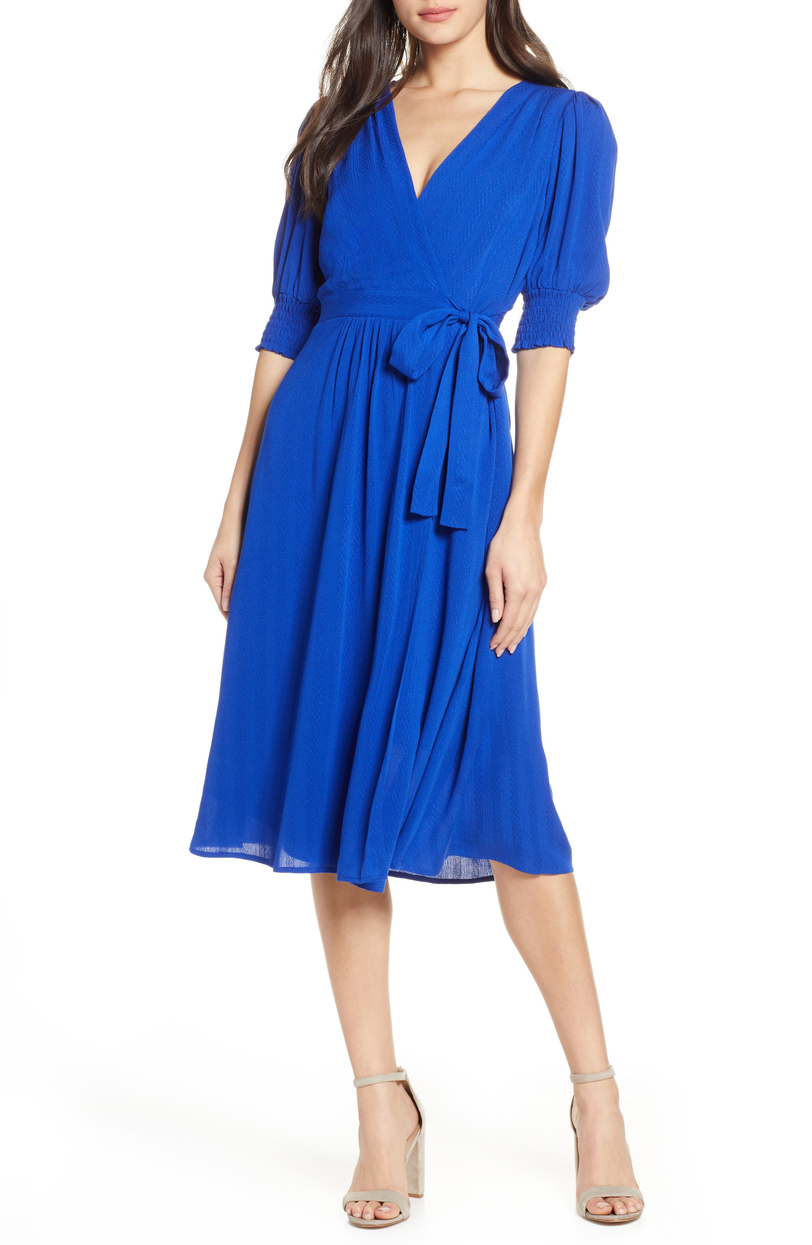 Chelsea28 Smock Sleeve Wrap Dress, Blue
