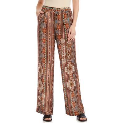 Karen Kane Island Print Wide Leg Pants, Brown