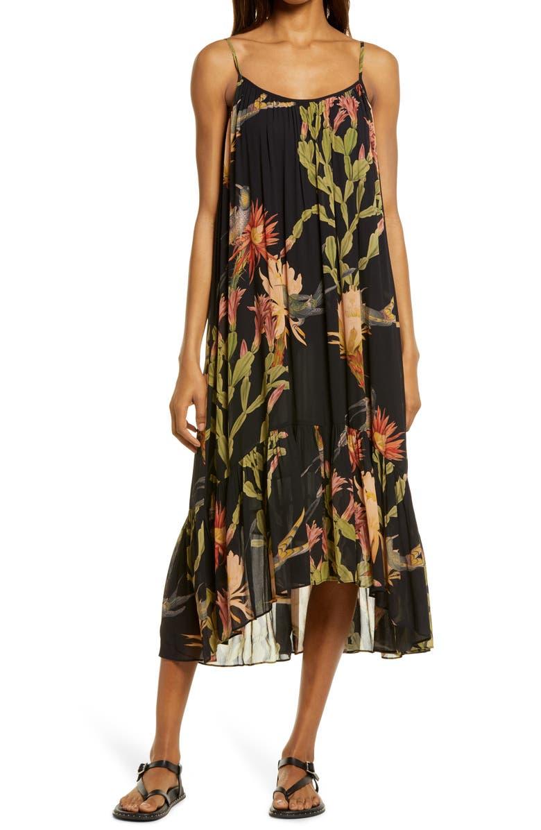 ALLSAINTS Paola Nolina Crinkle Midi Dress, Main, color, BLACK