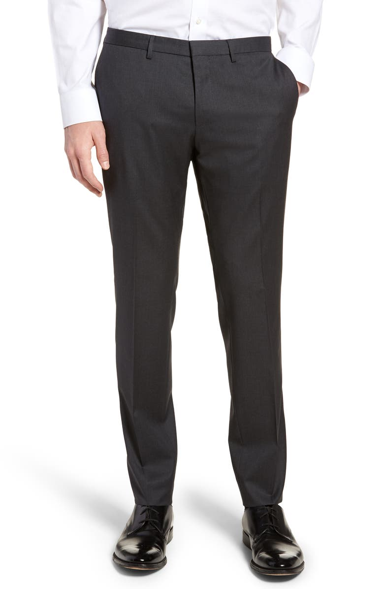 BOSS Wave CYL Flat Front Slim Fit Solid Wool Dress Pants, Main, color, DARK GREY