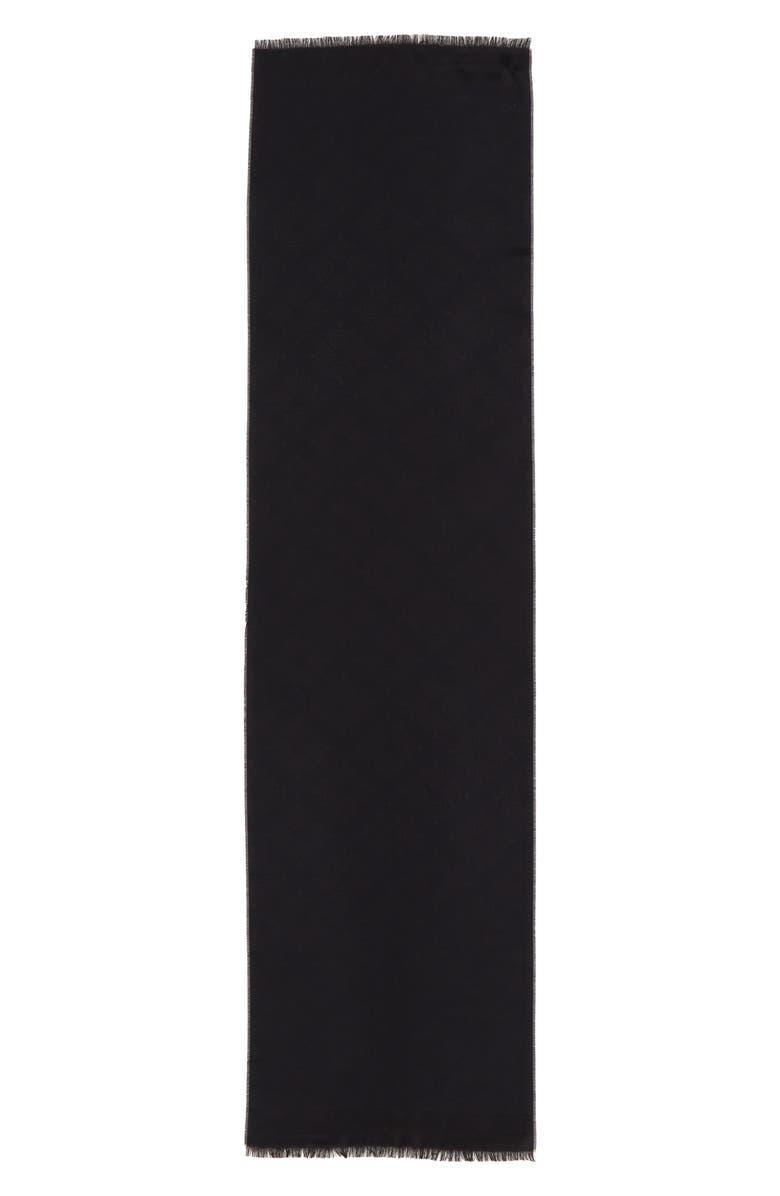MULBERRY Tree Jacquard Silk & Cotton Scarf, Main, color, BLACK