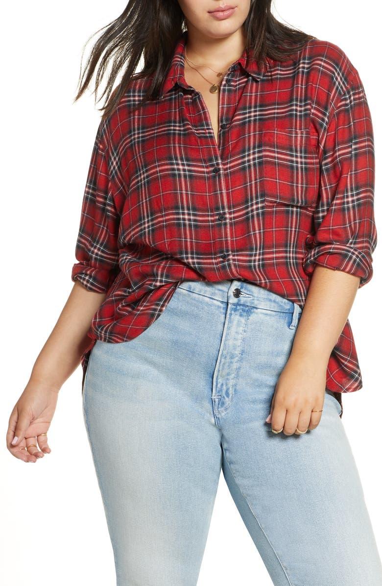 TREASURE & BOND Plaid Boyfriend Shirt, Main, color, RED GROUSE PLAID