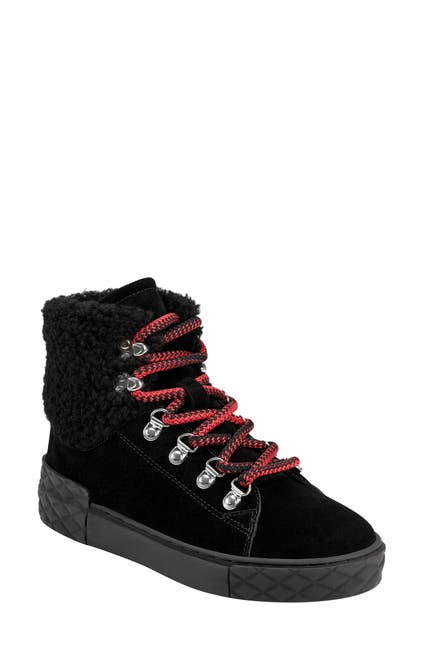 Image of Marc Fisher LTD Davie Water Resistant Lace-Up Faux Fur Trim Sneaker