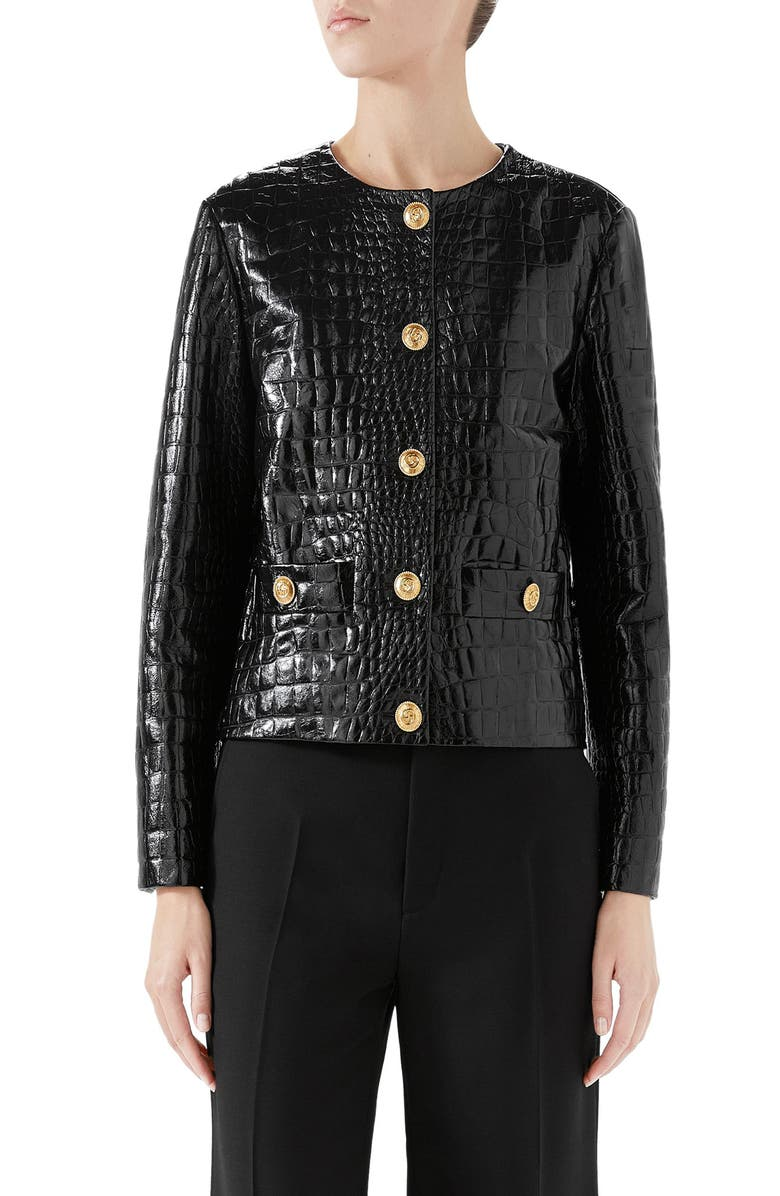 GUCCI Croc Embossed Leather Jacket, Main, color, BLACK