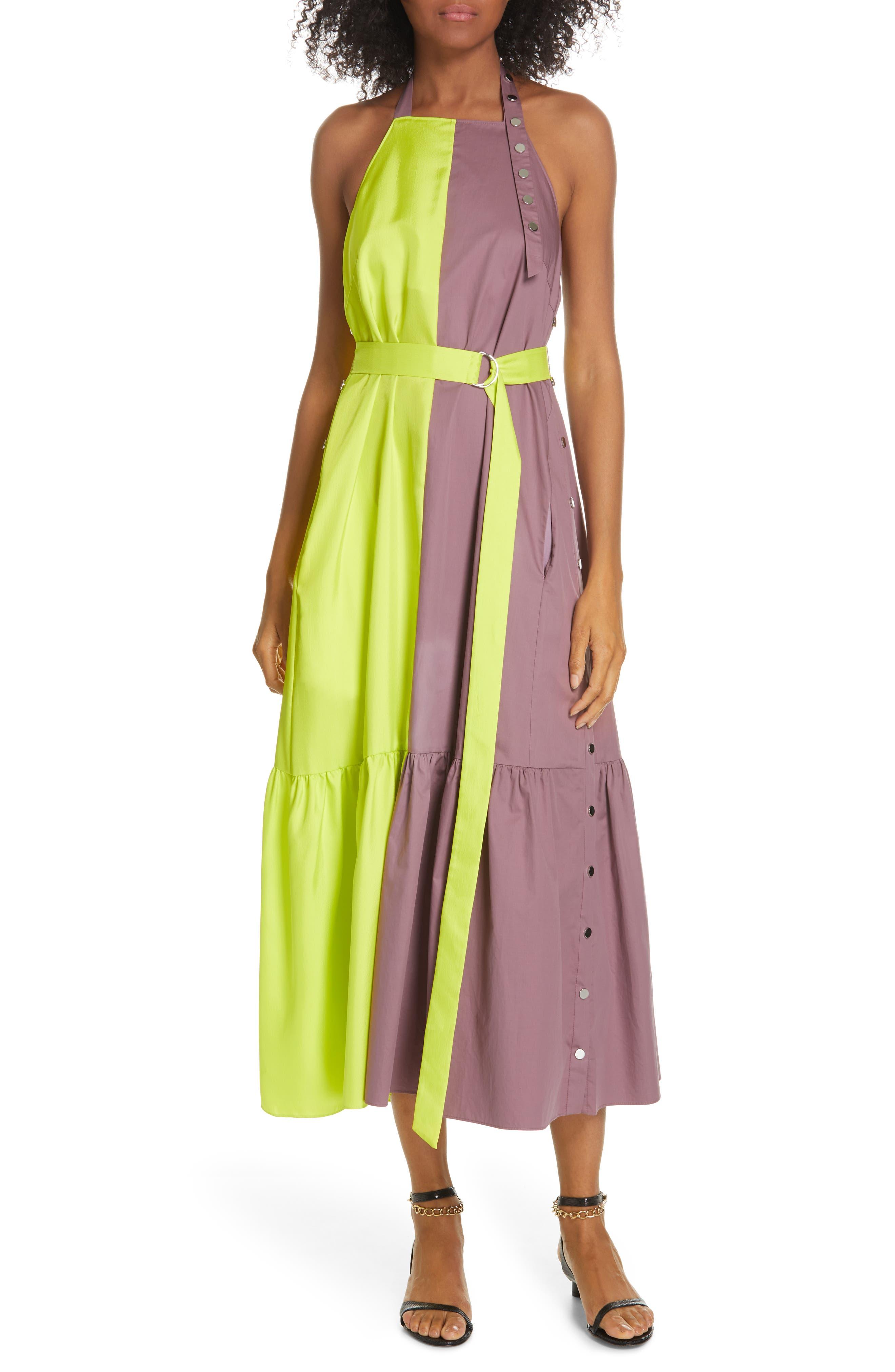 Tibi Colorblock Tech Poplin Dress