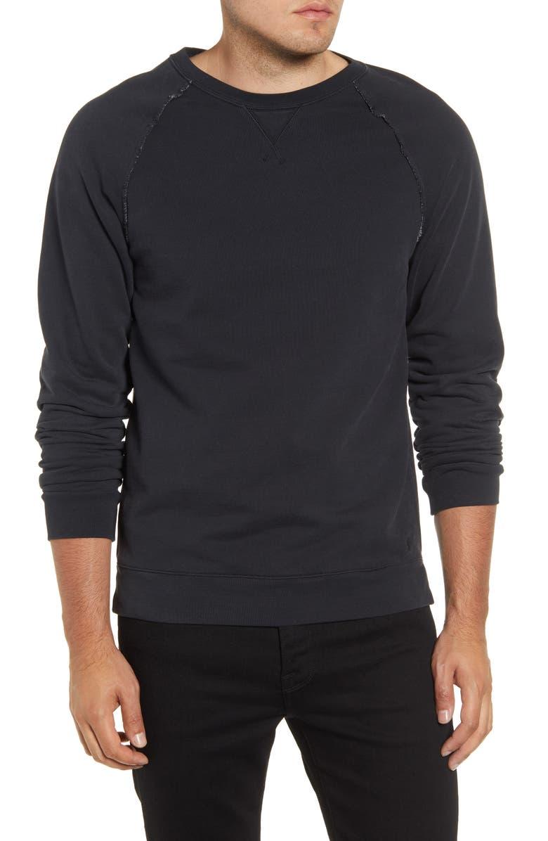 FRAME Raw Edge Slim Fit Sweatshirt, Main, color, FADED NOIR