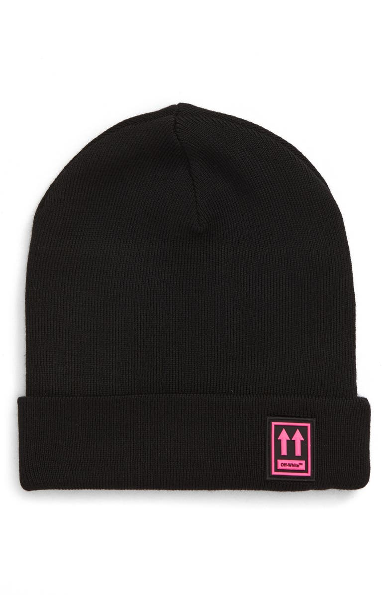 OFF-WHITE Logo Patch Wool Beanie, Main, color, BLACK