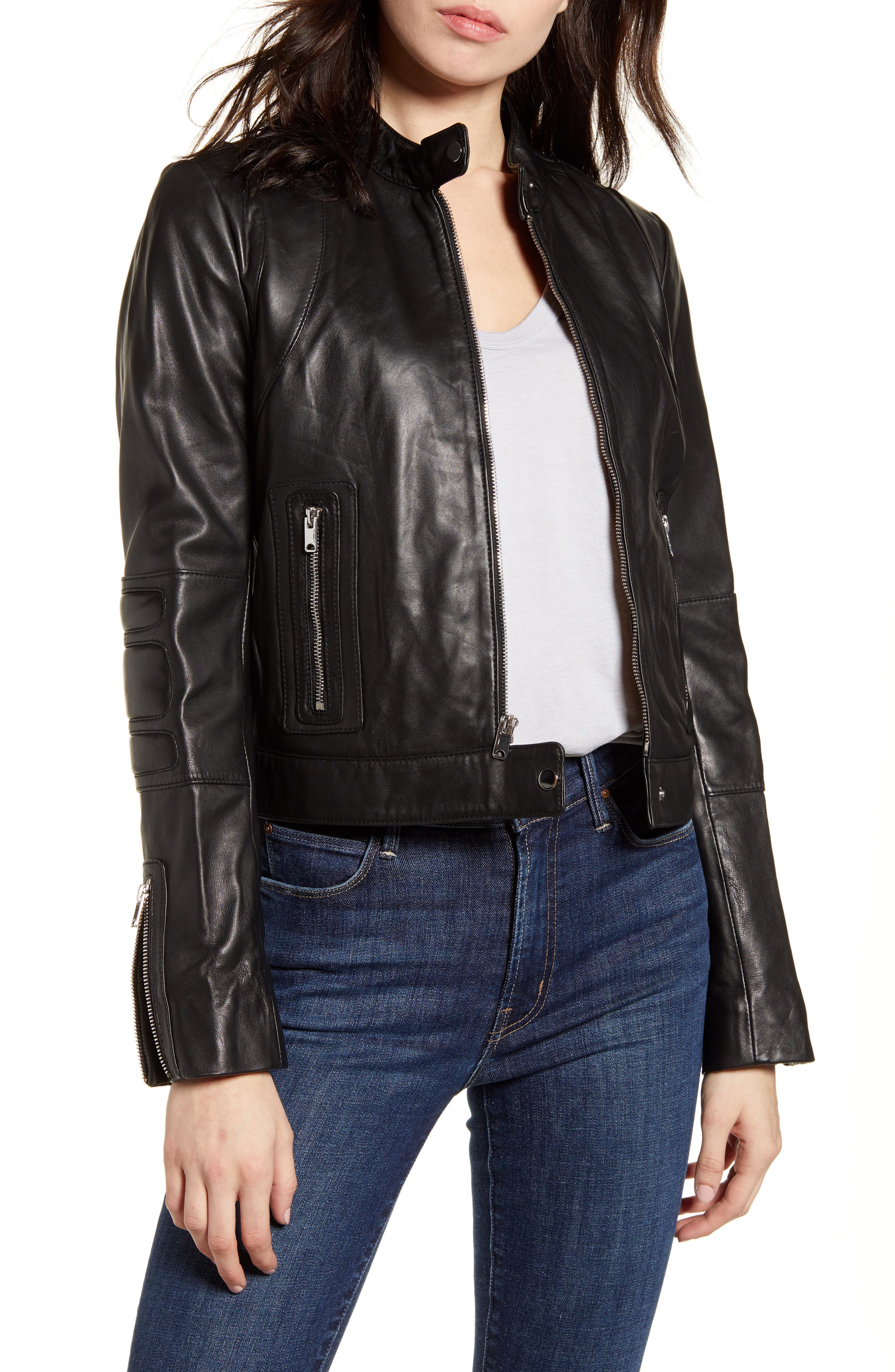 Andrew Marc Leather Racer Jacket