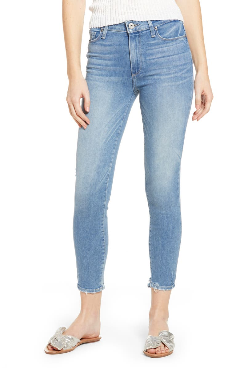 PAIGE Hoxton Transcend Vintage High Waist Crop Skinny Jeans, Main, color, ATTERBURY W/ TORN BACK HEM