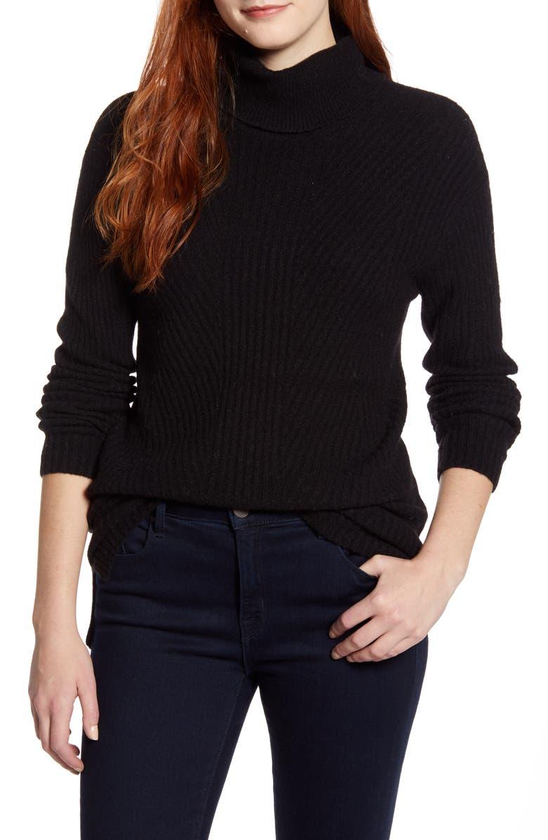 CASLON<SUP>®</SUP> Textured Turtleneck Sweater, Main, color, 001