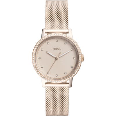 Fossil Neely Crystal Mesh Strap Watch,