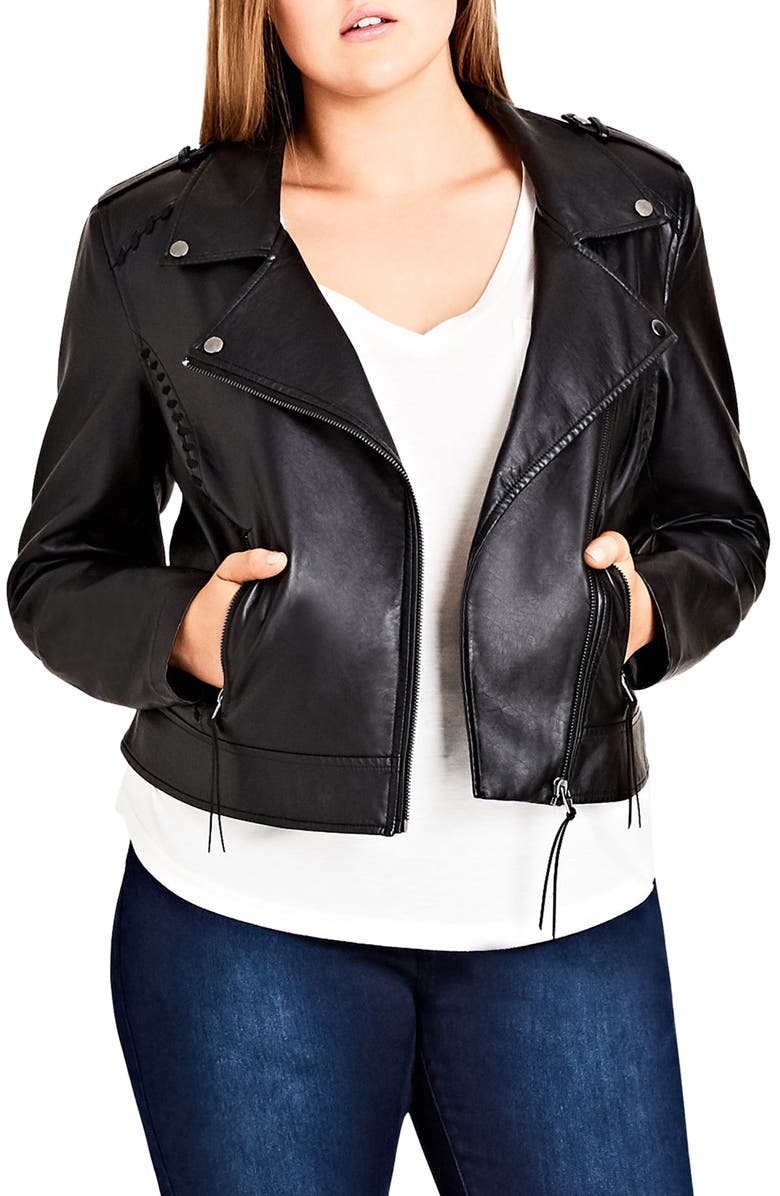 CITY CHIC Whipstitched Biker Jacket, Main, color, BLACK