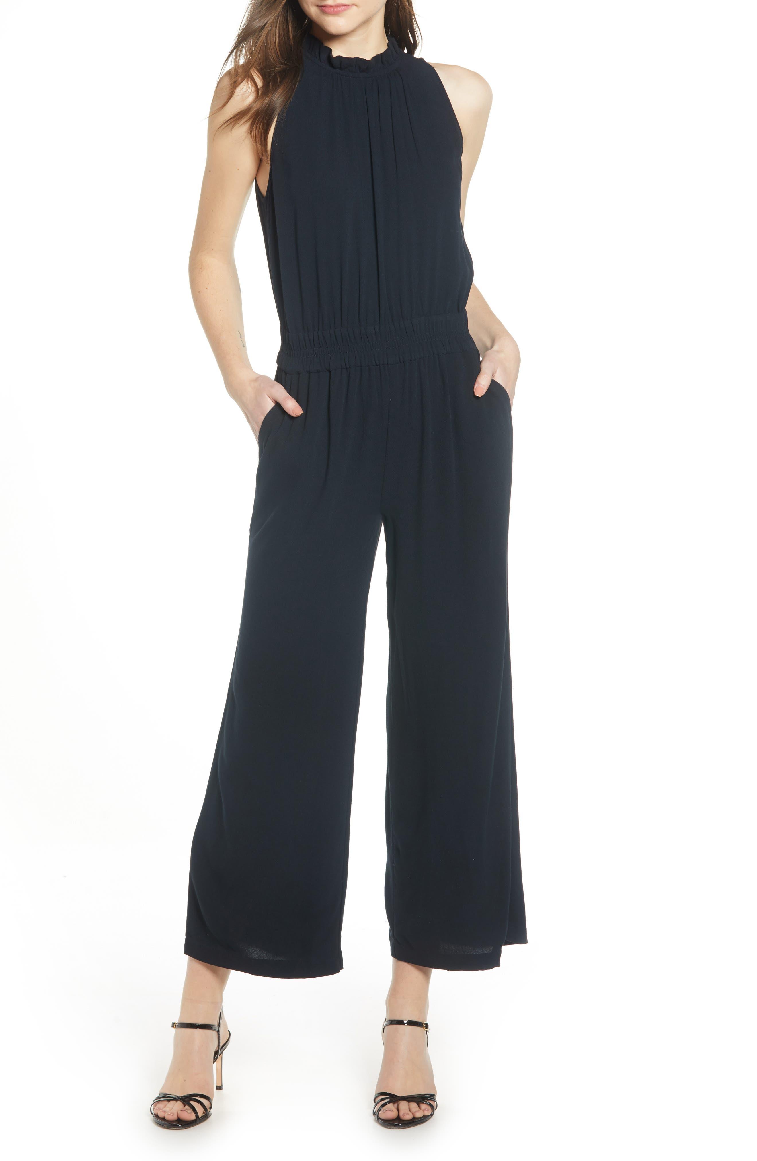 Ruffle Neck Jumpsuit, Main, color, BLACK